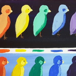 two rows of colorful birds