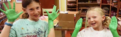 kids with green hands